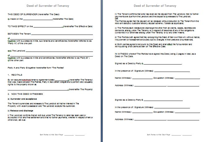 Free Deed Of Surrender Of Assured Shorthold Tenancy Agreement (Ast